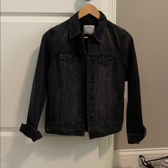 NEW black/distressed/denim jacket from OLD NAVY